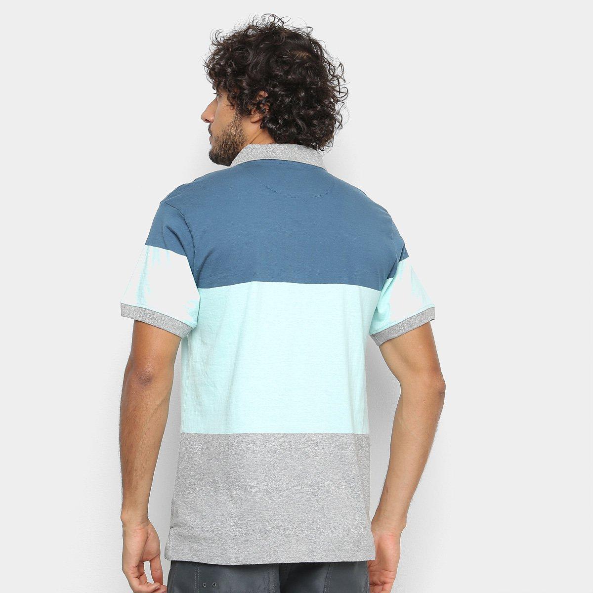 Camisa Polo Gajang Color Block Masculina - Verde