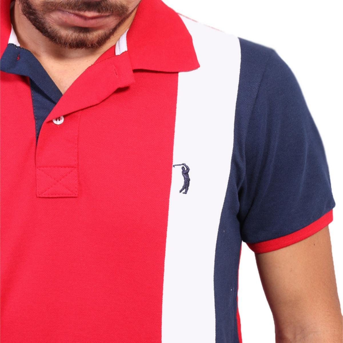 a328a77d8c Camisa Polo Golf Club Listrada Masculina - Vermelho e Marinho ...