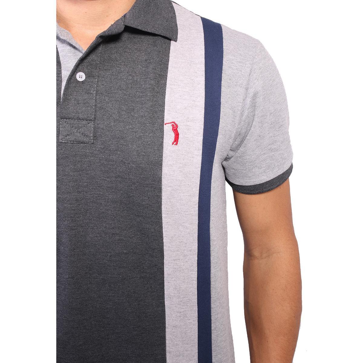 Camisa Polo Golf Club Trios Masculina - Chumbo e Cinza - Compre ... e15106e5fdb20