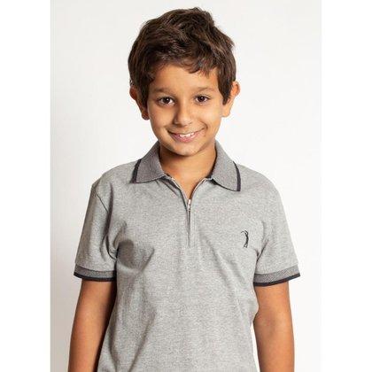 Camisa Polo Infantil Aleatory lisa Peitilho Zíper Masculina
