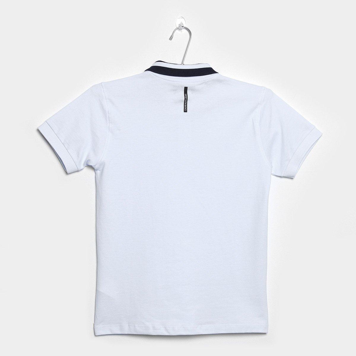 df8c7c54eb Camisa Polo Infantil Calvin Klein Gola CK Jeans Masculina - Branco ...