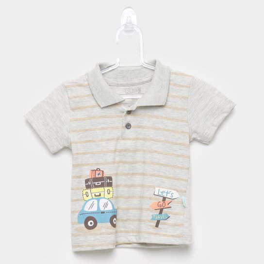 Camisa Polo Infantil Kiko & Kika Listrada Trip Masculina - Cinza
