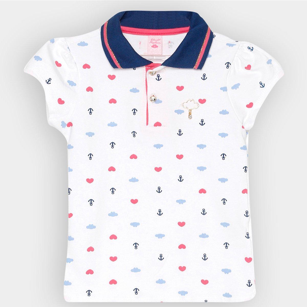 bc35f6f203f Camisa Polo Infantil Lilica Ripilica Estampada Feminina - Branco - Compre  Agora