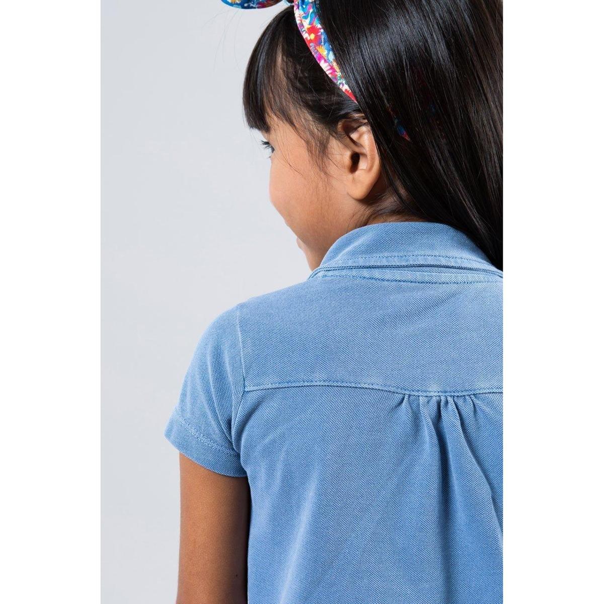 b16205d1e1 Camisa Polo Infantil Reserva Mini Feminina - Azul Petróleo - Compre ...
