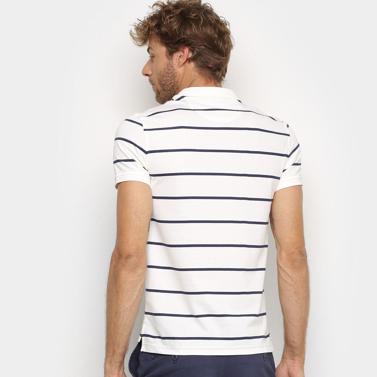 Camisa Polo Izod Listrada Masculina - Branco e Azul