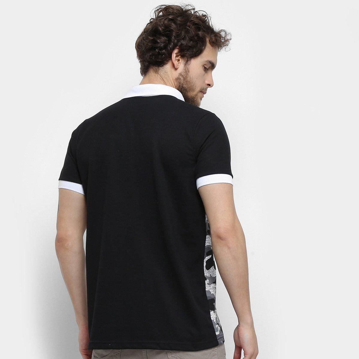 Camisa Polo Jimmy'Z Camuflado Navy Masculina - Cinza e Preto