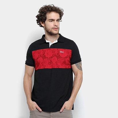 Camisa Polo Jimmy'Z Faixa Floral Masculina