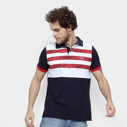 Camisa Polo Jimmy'Z Listrado Floral Masculina