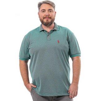 Camisa Polo John Pull Plus Size Masculina Botão Dia a Dia