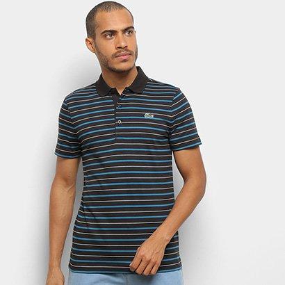 Camisa Polo Lacoste Listrada Manga Curta Masculina Masculino-Preto+Azul