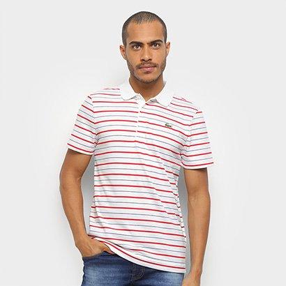 Camisa Polo Lacoste Listrada Manga Curta Masculina Masculino-Branco+Vermelho