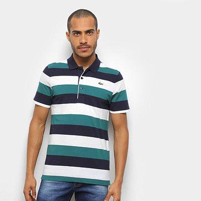 Camisa Polo Lacoste Listrada Manga Curta Masculina Masculino-Azul+Branco