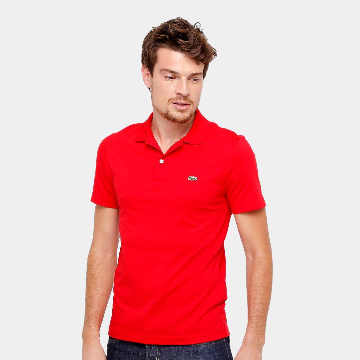 f075bd45410ea Camisa Polo Lacoste Malha Original Fit Masculina - Vermelho - Compre ...