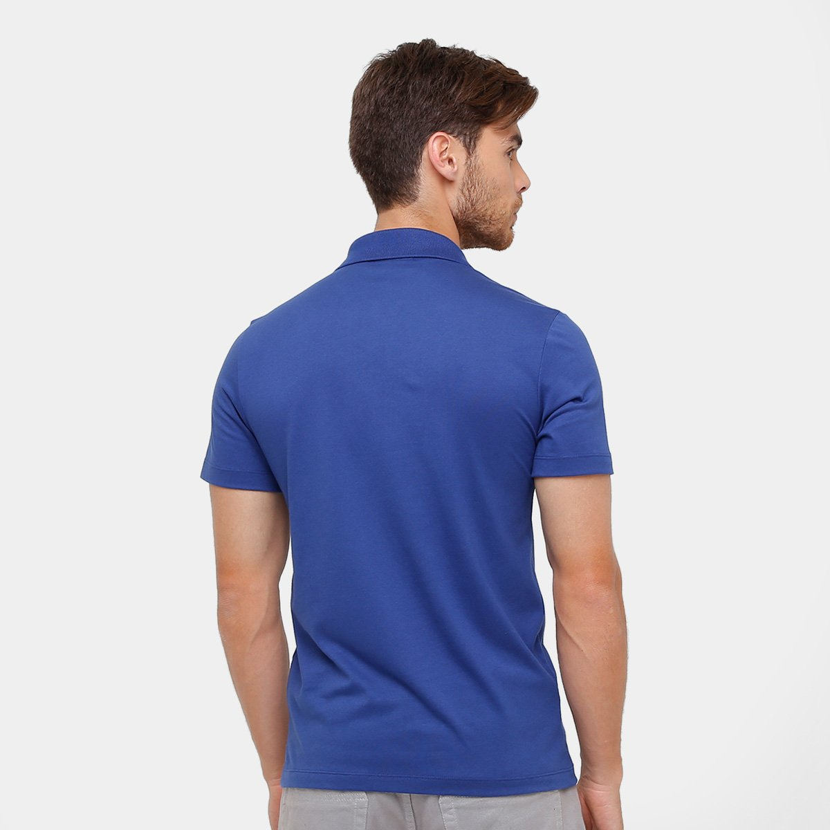 Camisa Polo Lacoste Malha Original Fit Masculina - Azul Escuro ... 40c3f2c955
