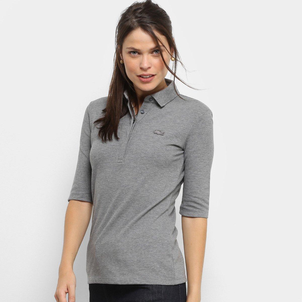 Camisa Polo Lacoste Manga 3 4 Botões Feminina - Compre Agora   Zattini 5799e6f450