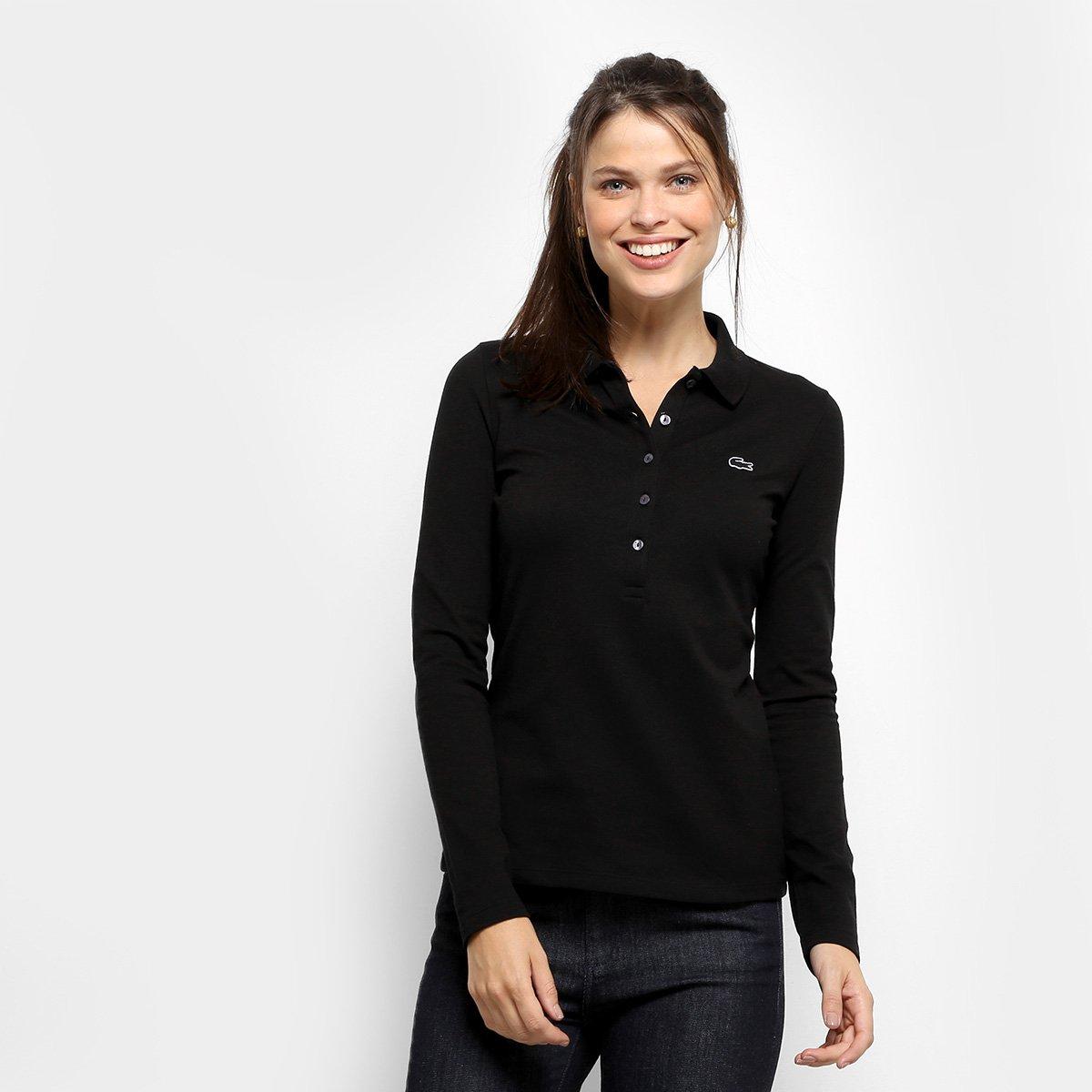 Camisa Polo Lacoste Manga Longa Botões Feminina - Compre Agora  18e386adab256