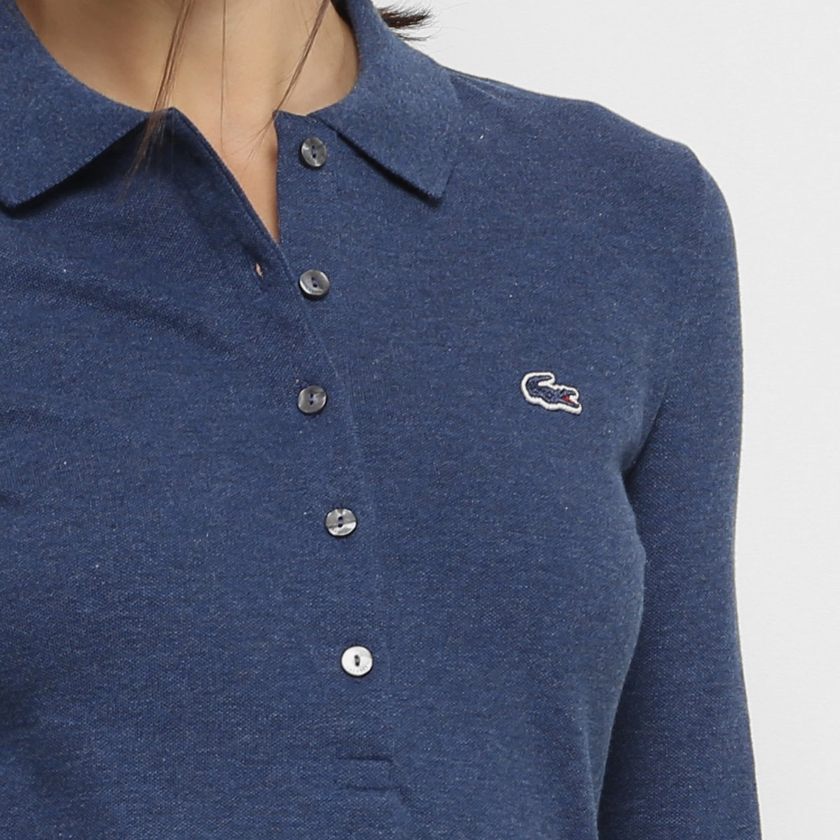 c31814f9825bf Camisa Polo Lacoste Manga Longa Botões Feminina - Compre Agora   Zattini