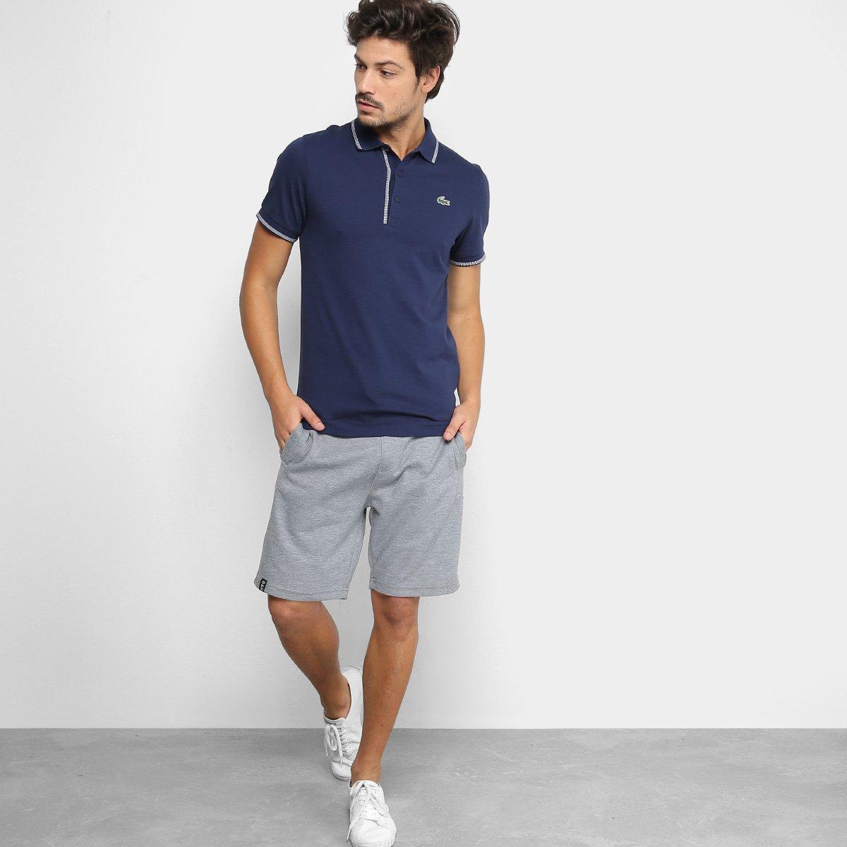 Camisa Polo Lacoste Masculina - Marinho e Branco - Compre Agora ... d5d5ea8165764