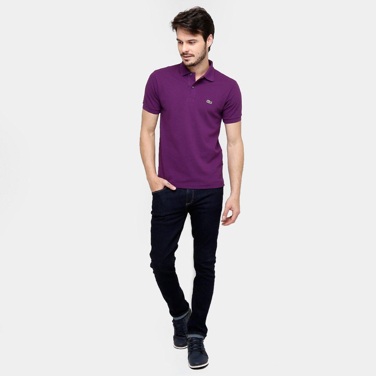 Camisa Polo Lacoste Original Fit Masculina - Roxo e Branco - Compre ... 4abb6ded25fe7