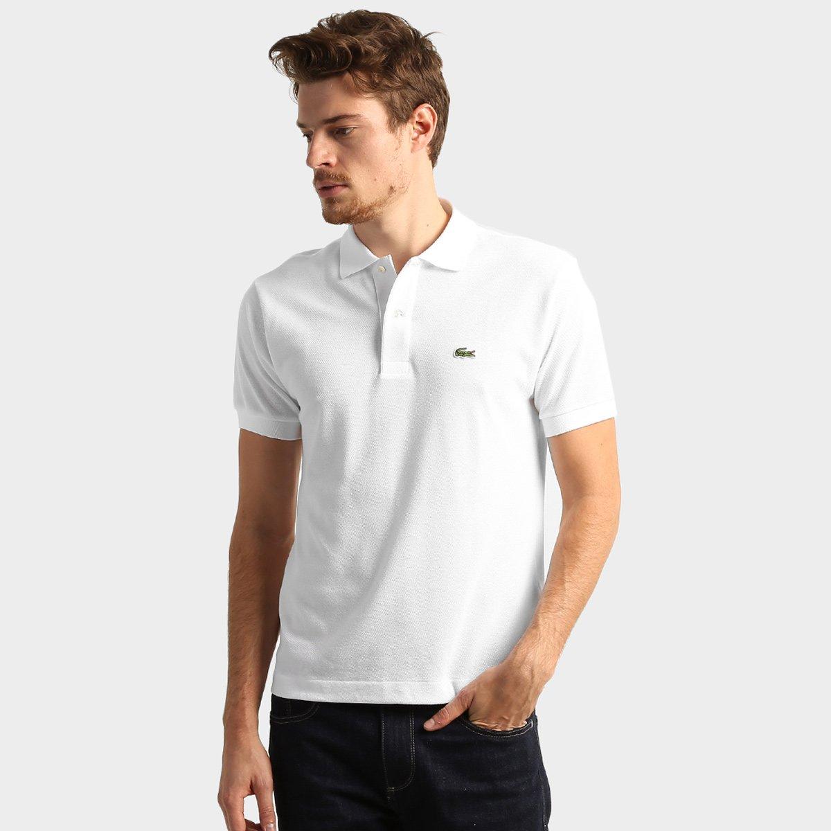 8a51b0c1bdbcd Camisa Polo Lacoste Original Fit Masculina - Branco - Compre Agora ...