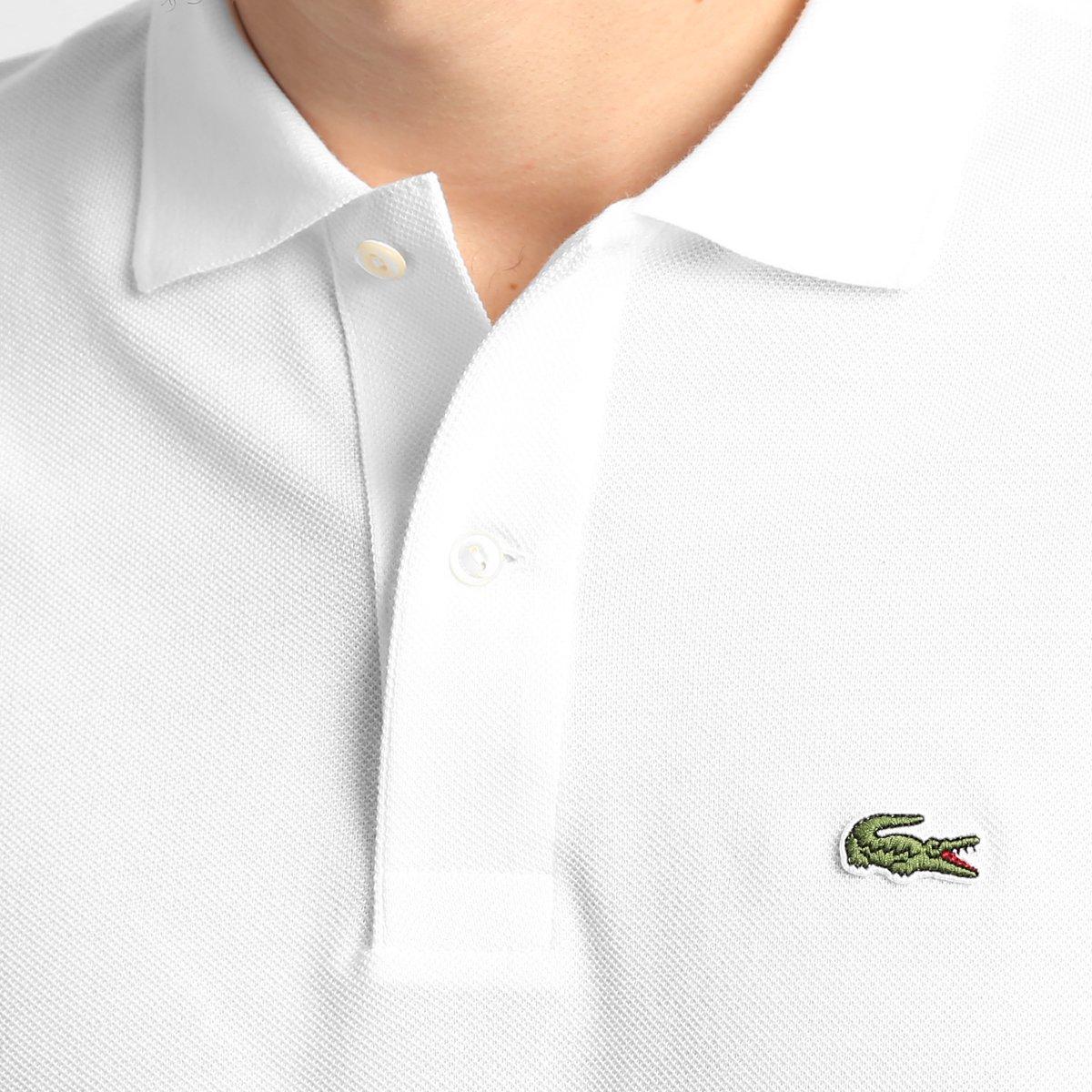 d28bf529e5954 Camisa Polo Lacoste Original Fit Masculina - Branco - Compre Agora ...