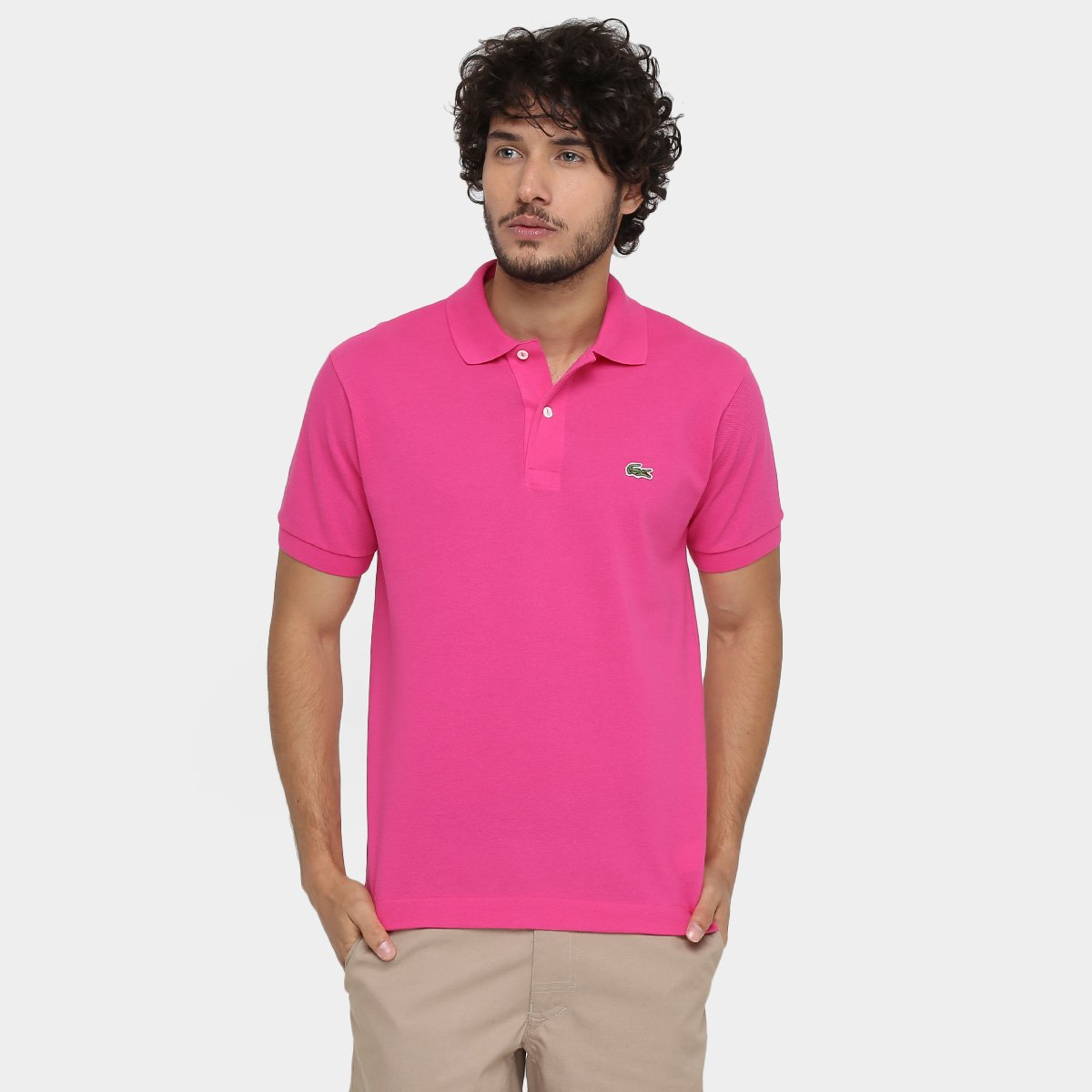 00205b30feebd Camisa Polo Lacoste Original Fit Masculina - Pink - Compre Agora ...