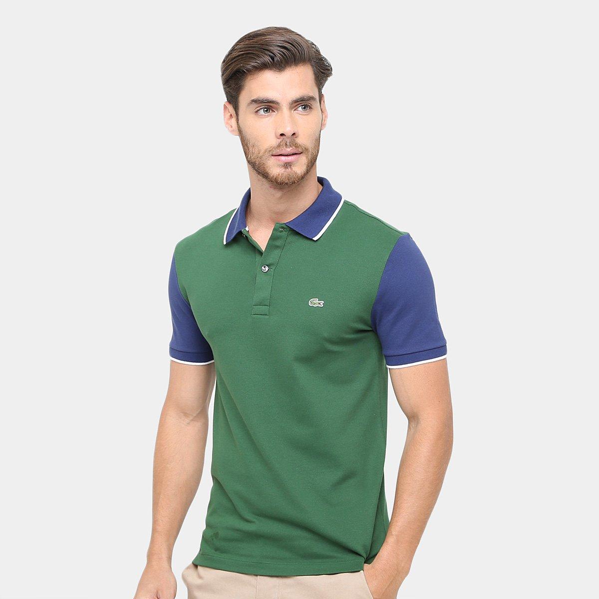 371580a9b1 Camisa Polo Lacoste Piquet Bicolor Slim Fit Masculina - Compre Agora ...