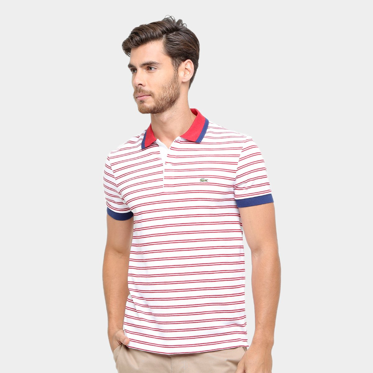 6efb2463ce Camisa Polo Lacoste Piquet Fit Listras Color Masculina