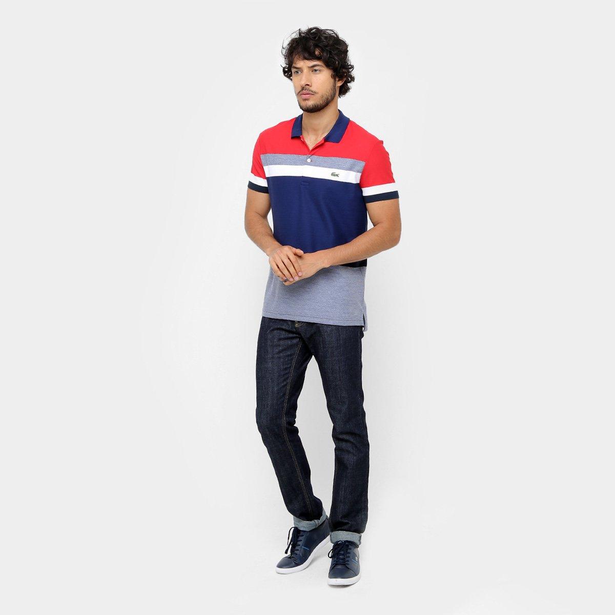 ab2d3b48da9 Camisa Polo Lacoste Piquet listras color - Compre Agora