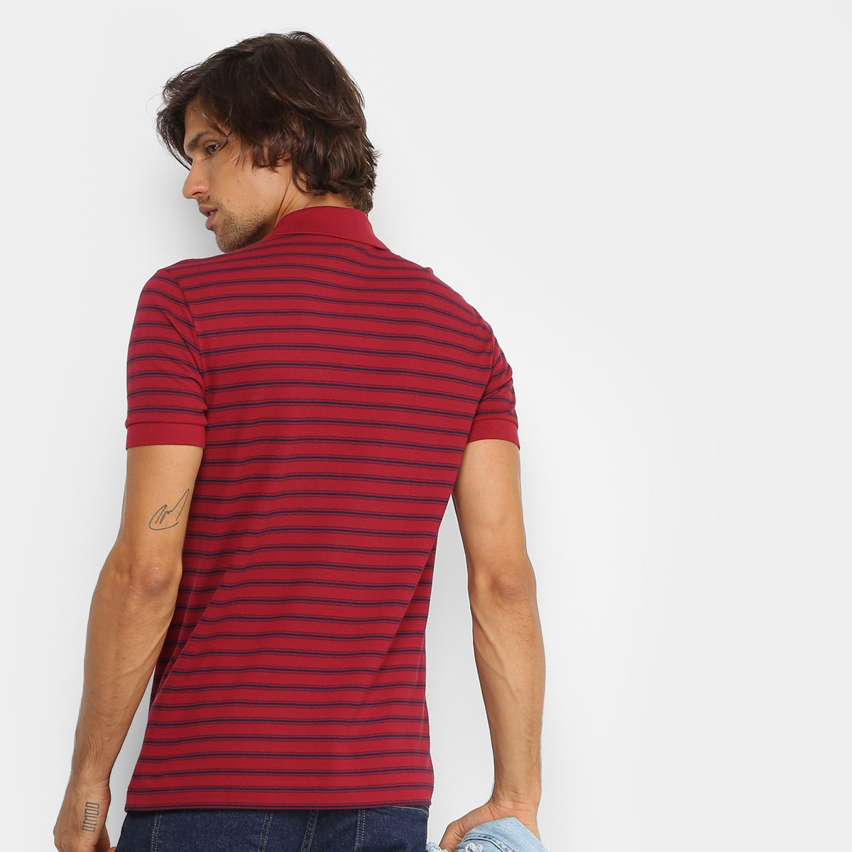 Camisa Polo Lacoste Piquet Listras Regular Fit Masculina - Compre ... c7268989a0b6f