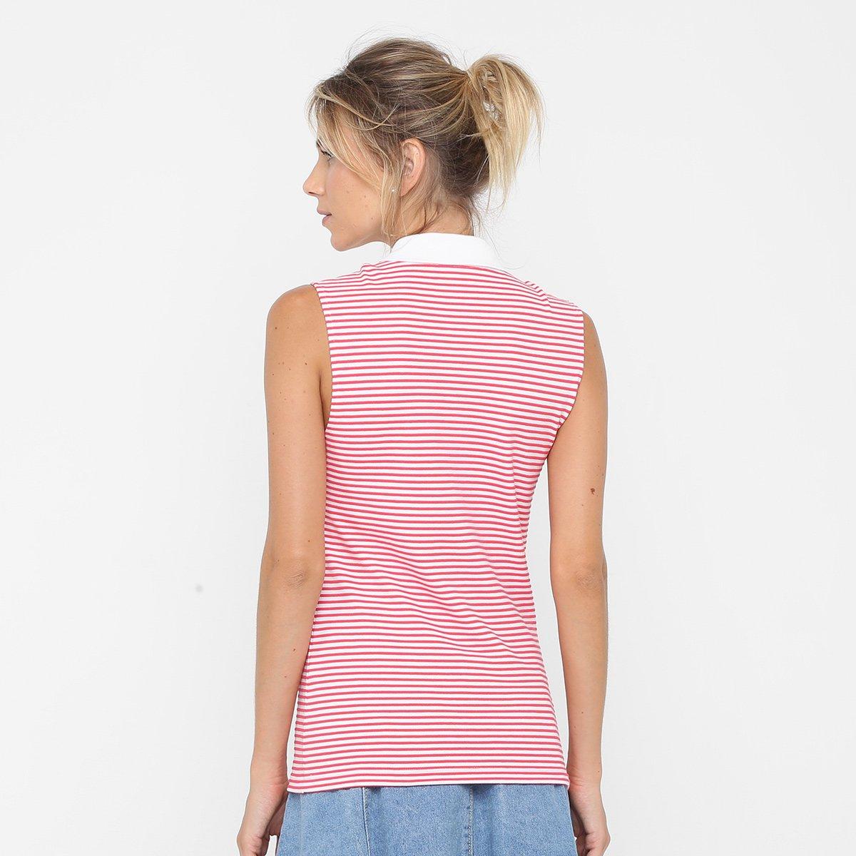 175a46fc6bb5c Camisa Polo Lacoste Sem Mangas Listrada Feminina - Compre Agora ...