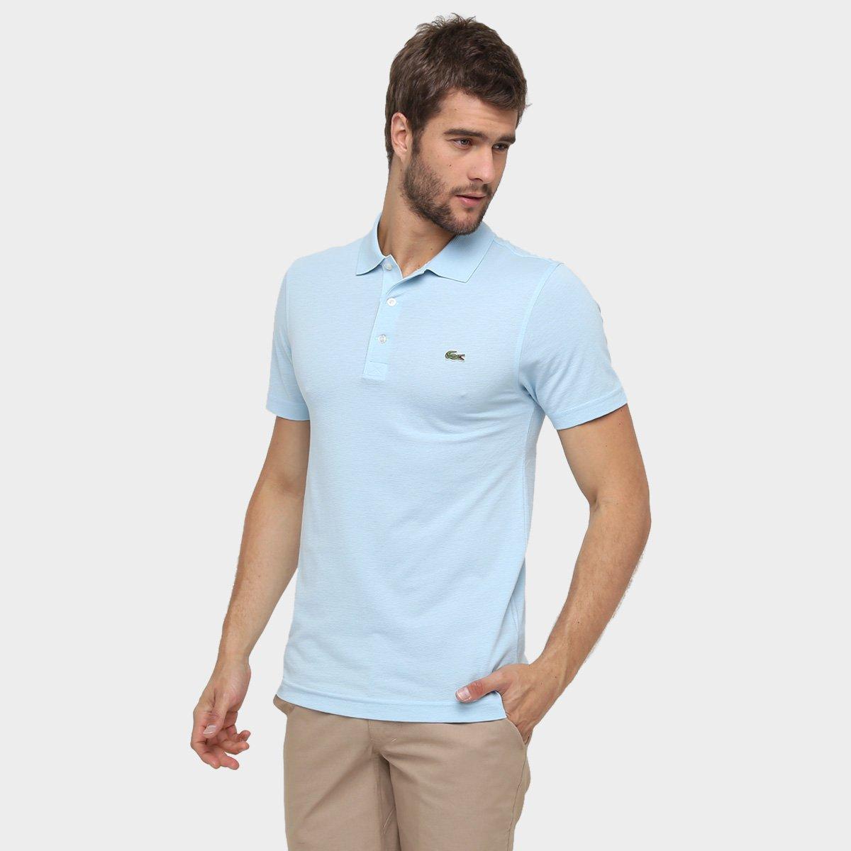 ee085bf7443ab Camisa Polo Lacoste Super Light Masculina - Azul Claro e Preto ...