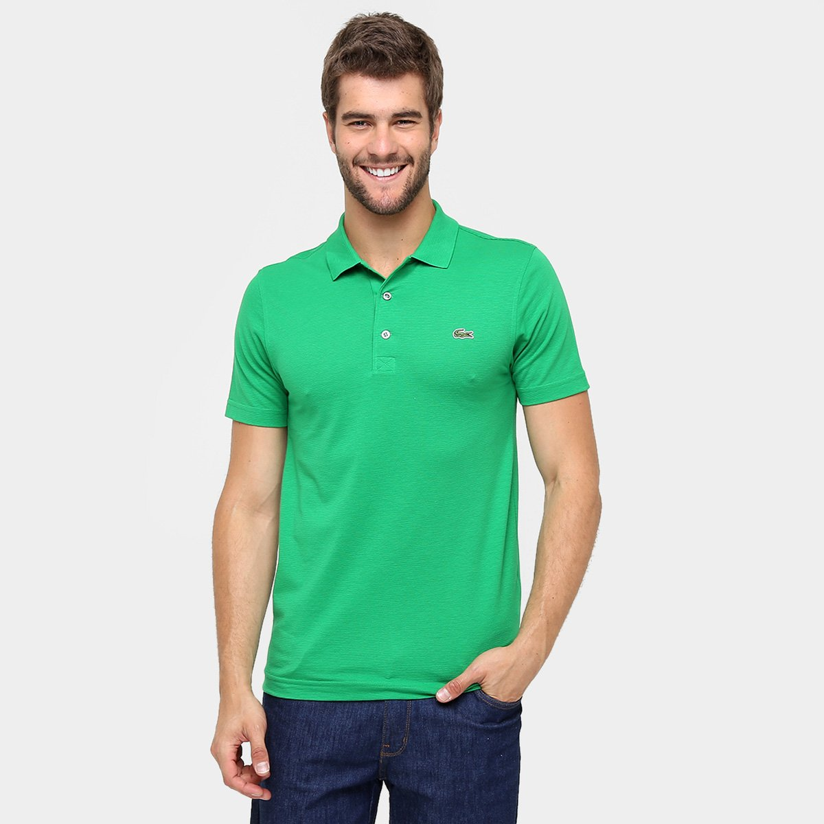 Camisa Polo Lacoste Super Light Masculina - Verde e Branco - Compre ... e33138a8be