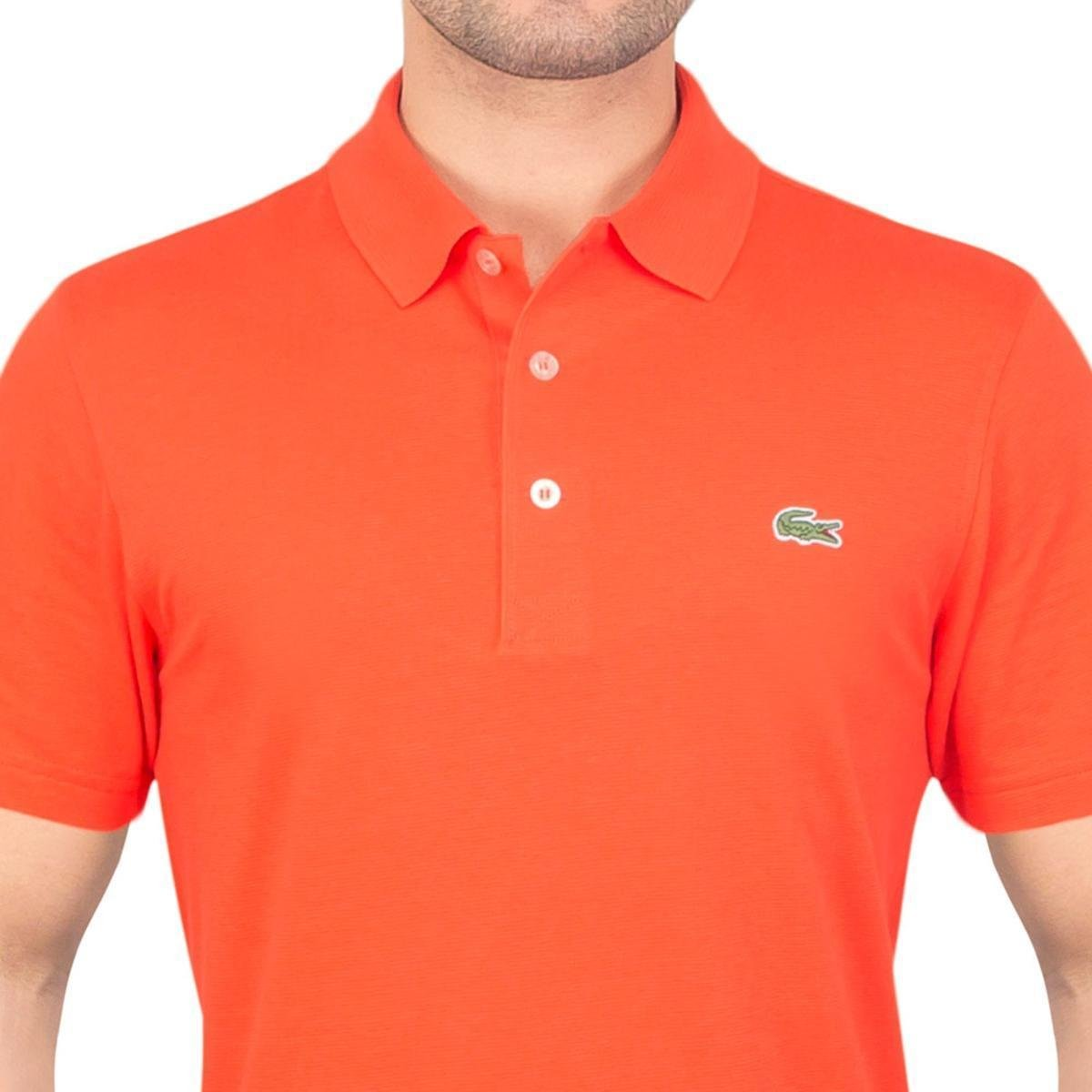 Camisa Polo Lacoste Super Light Masculina - Laranja e Branco ... 7021819659
