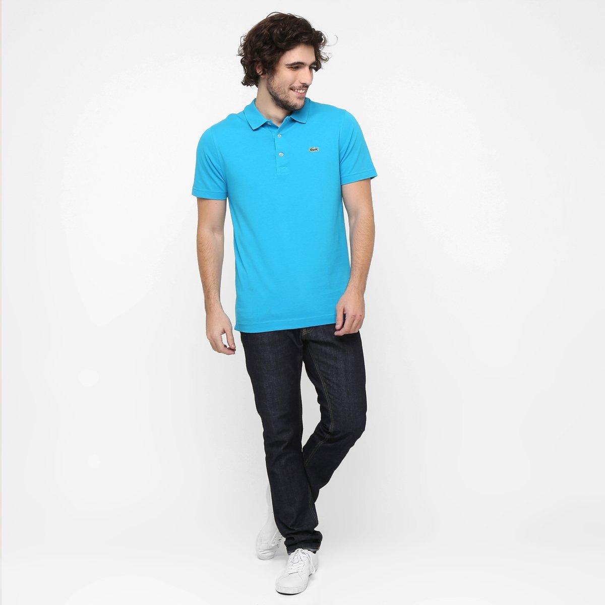 aad5b4e928 Camisa Polo Lacoste Super Light Masculina - Azul Piscina e Verde ...
