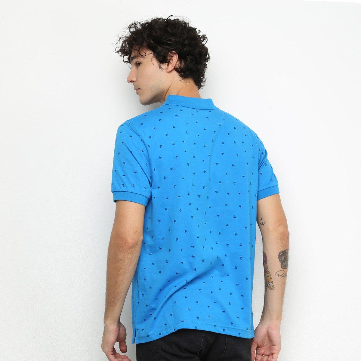 Camisa Polo Lucky Sailing Mini Print Masculina - Azul Royal