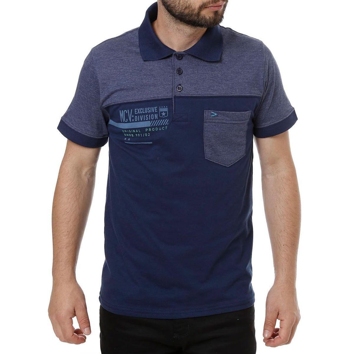 b99e05af93f6e Camisa Polo Manga Curta Masculina - Marinho