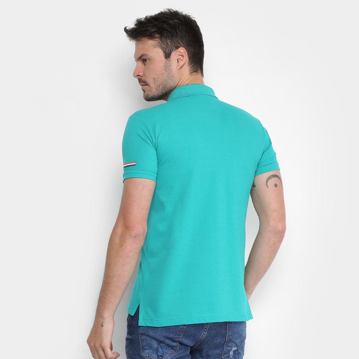 038e9f4267 Camisa Polo Opera Rock Piquet Bordada Masculina - Azul Turquesa ...