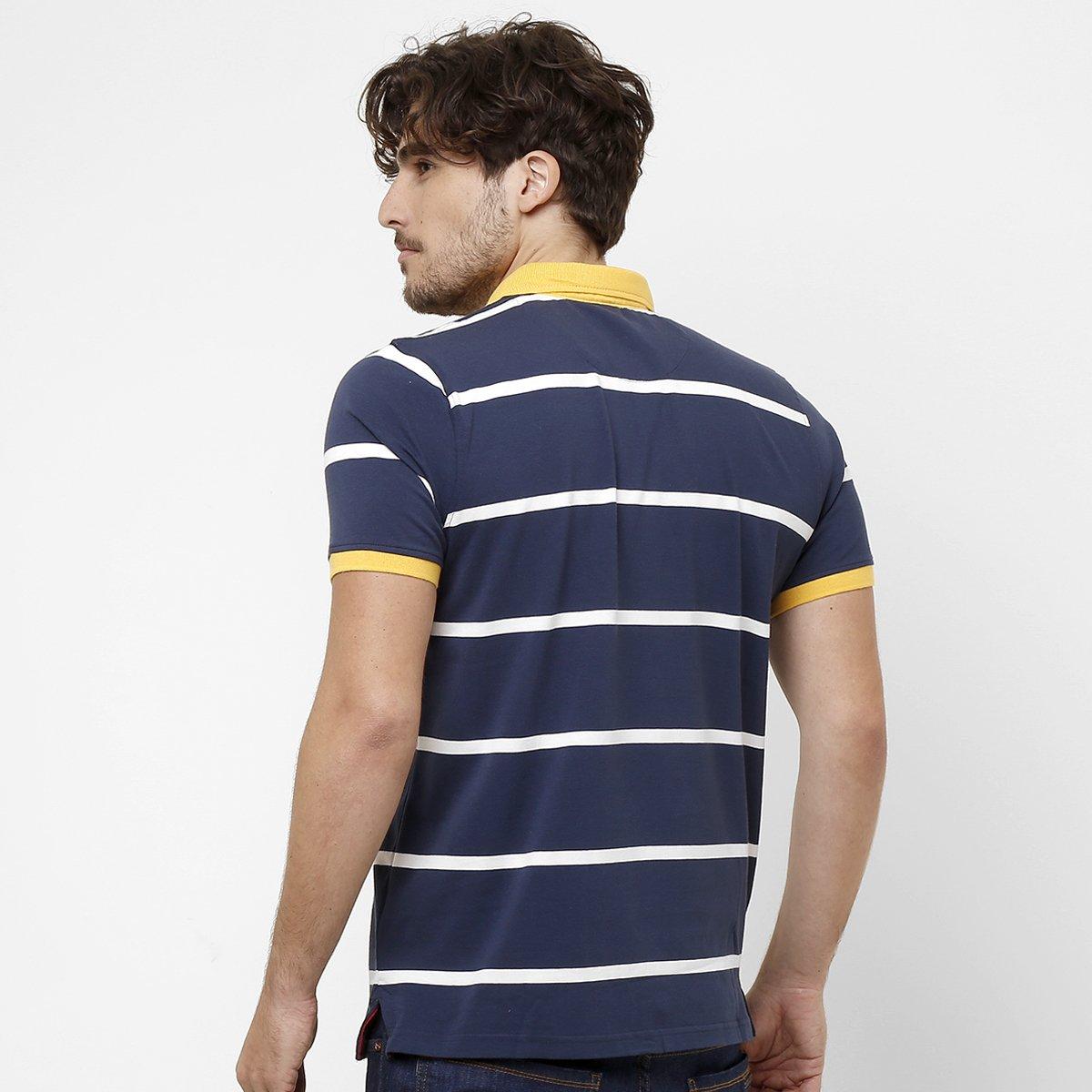 291602cc93 Camisa Polo Pacific Blue Fio Tinto Listras - Compre Agora
