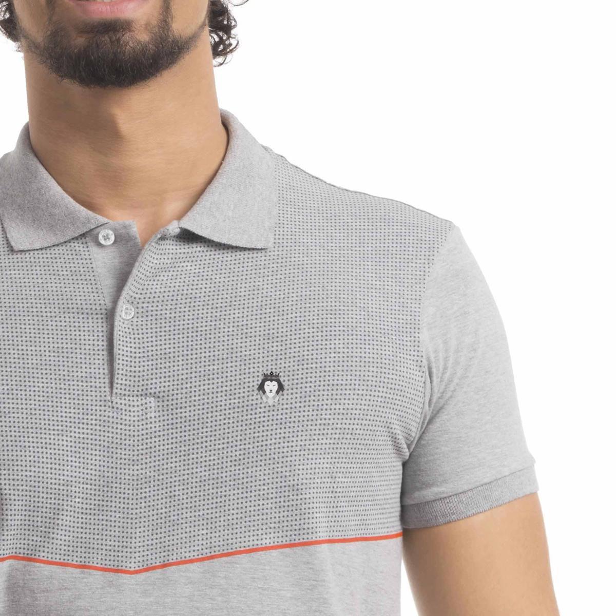 Camisa Polo Premium V Zaiden Masculina - Cinza Claro