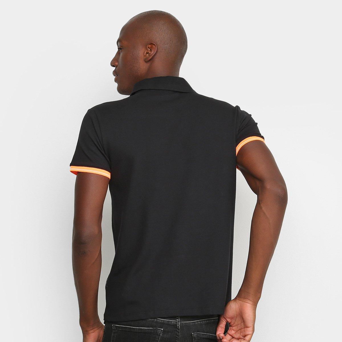 Camisa Polo Replay Detalhes Neon Masculina - Preto