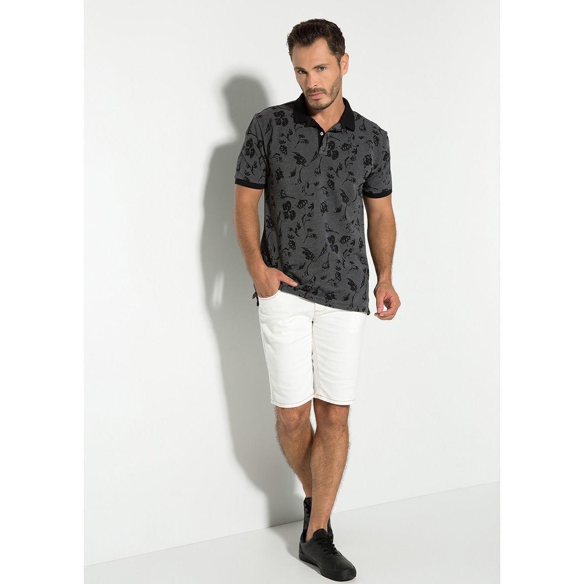 Camisa Polo Seeder Piquet Binado Masculina - Cinza e Preto