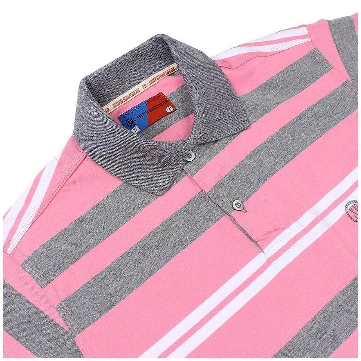 Camisa Polo Smith Brothers Listrada Masculina - Rosa - Compre Agora ... 6791c5e3dc7db