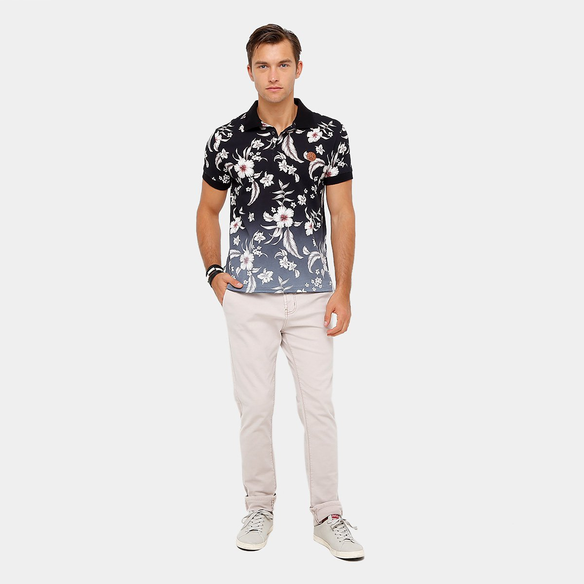 3a9abf8538 ... Camisa Polo Sommer Malha Full Print Flower Degradê Masculina ...