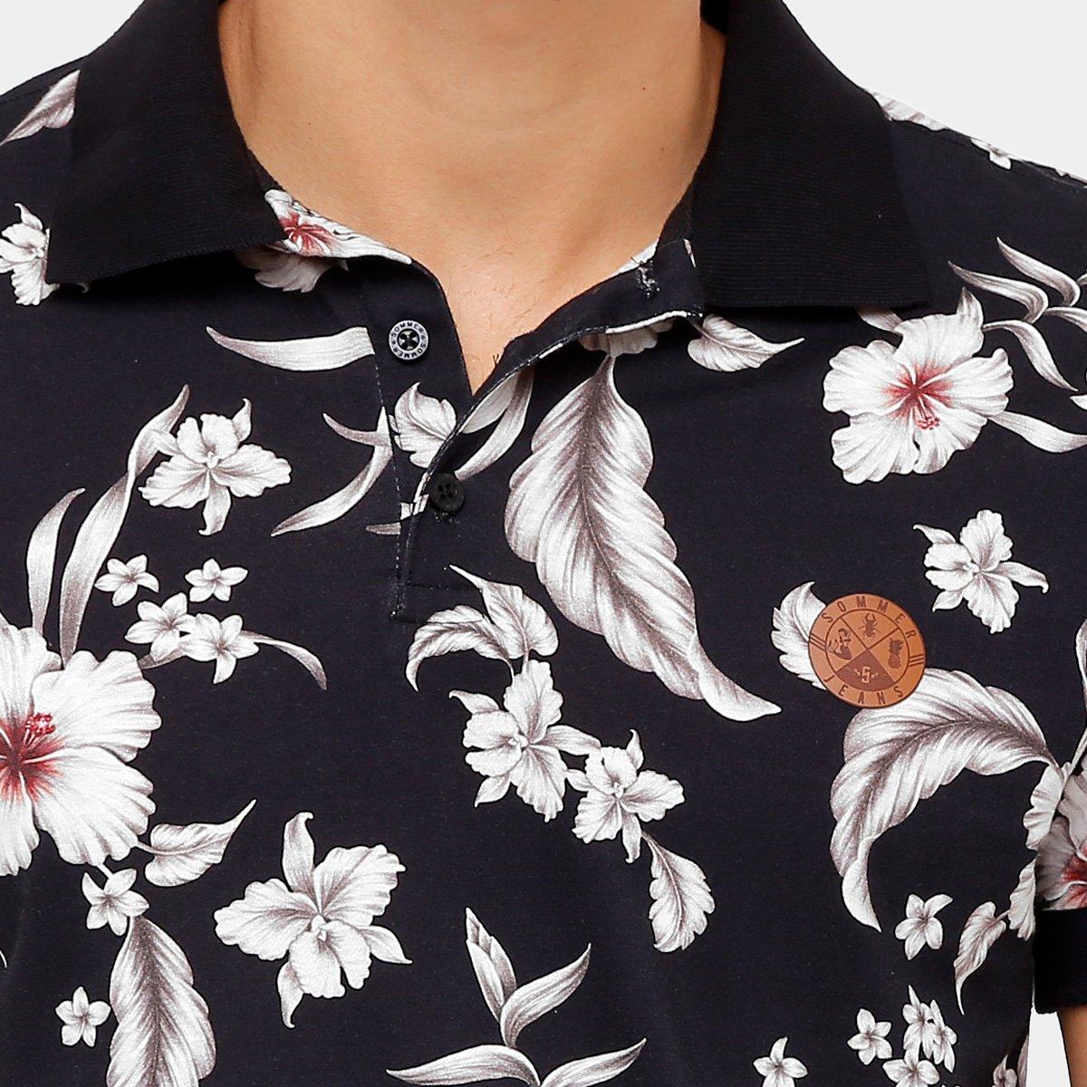 f6c16c3eb8 Camisa Polo Sommer Malha Full Print Flower Degradê Masculina ...