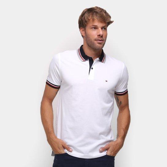 Camisa Polo Tommy Hilfiger Contrast Regular Masculina - Branco