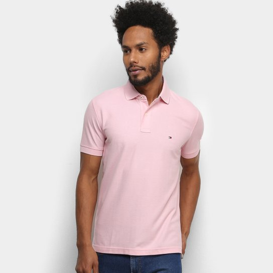 Camisa Polo Tommy Hilfiger Logo Masculina - Rosa