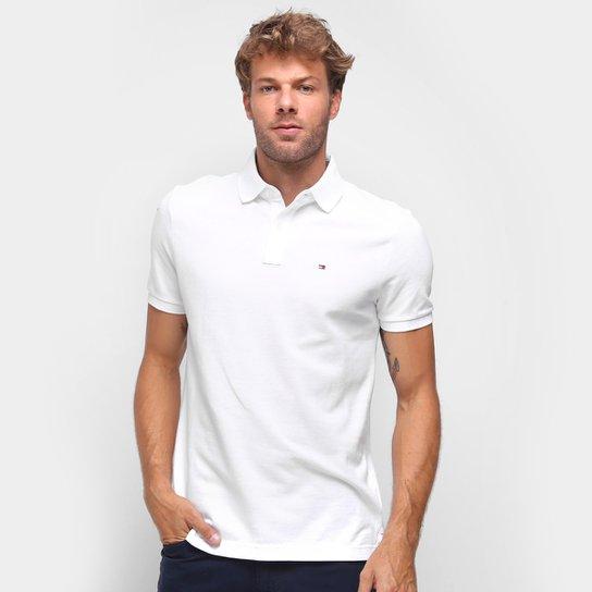 Camisa Polo Tommy Hilfiger Manga Curta Masculina - Branco