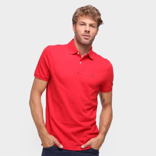 Camisa Polo Tommy Hilfiger Manga Curta Masculina - Vermelho