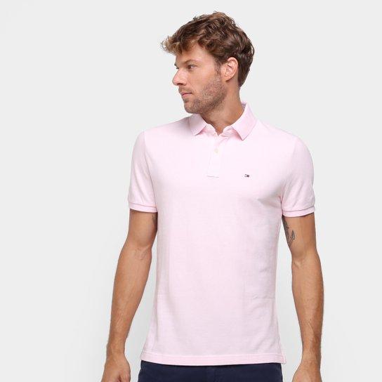Camisa Polo Tommy Hilfiger Manga Curta Masculina - Rosa